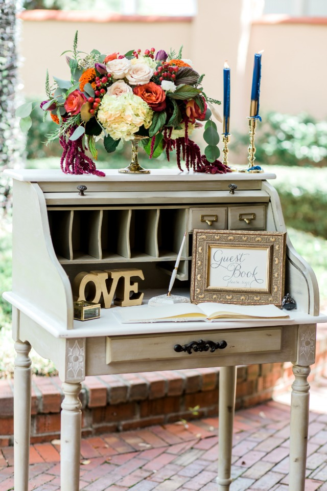 vintage writing desk guest book table