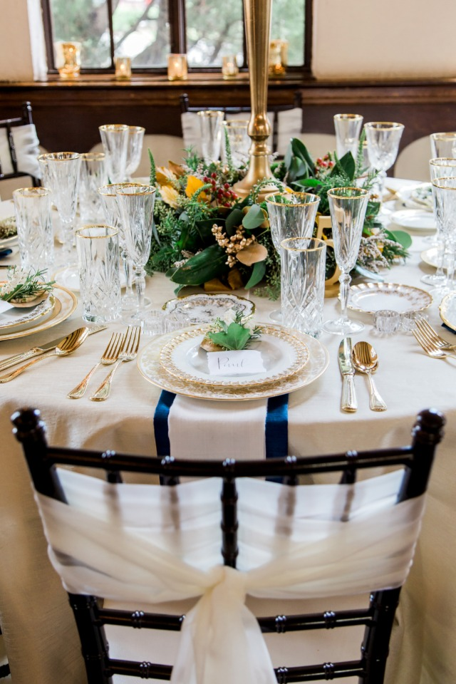 gold and blue formal dinner reception