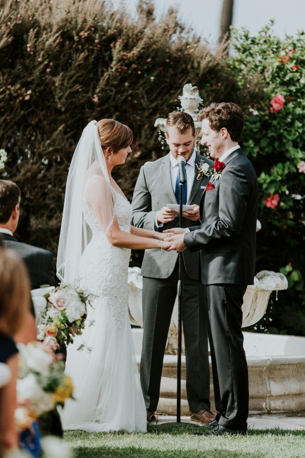 Red and white outdoor wedding in La Jolla