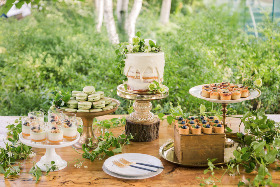eco-friendly wedding dessert table