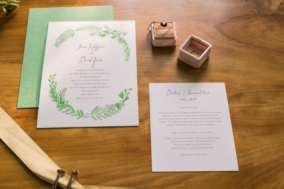 natural green and white wedding invites