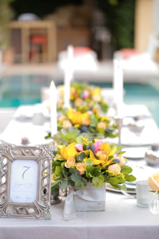 yellow and grey tablescape