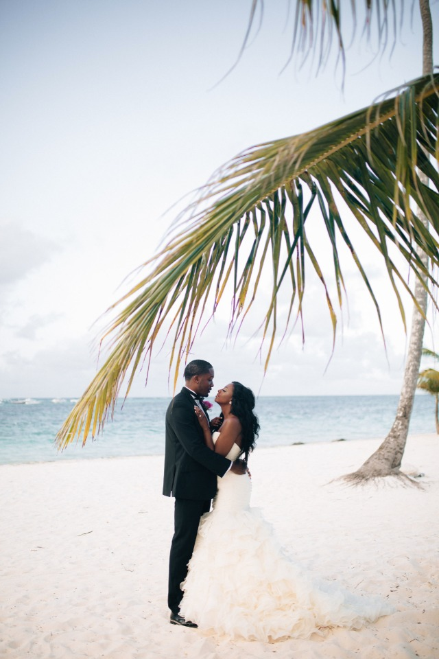 white sandy beach wedding couple
