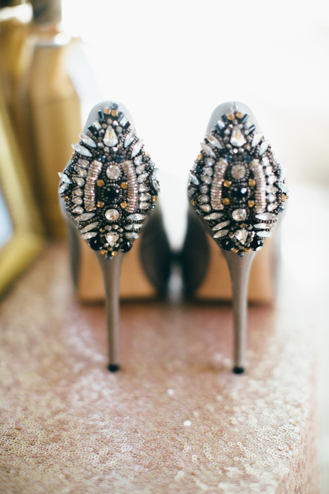 glammed up Badgley Mischka wedding shoes
