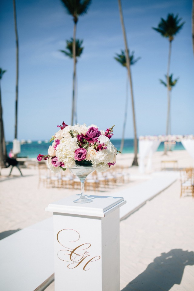 glam white and pink beach wedding