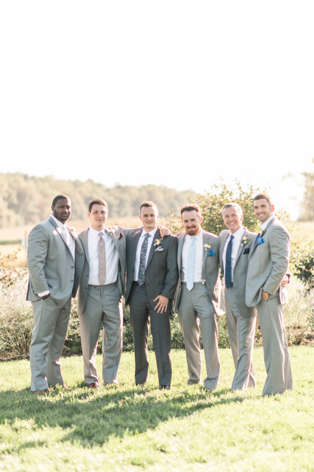 Mismatched groomsmen ties