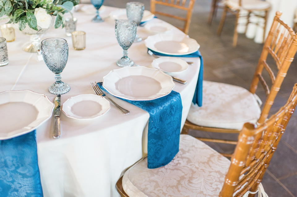 Blue napkin place setting