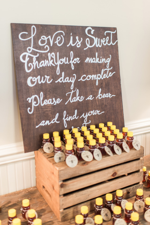 Cute homemade honey wedding favors