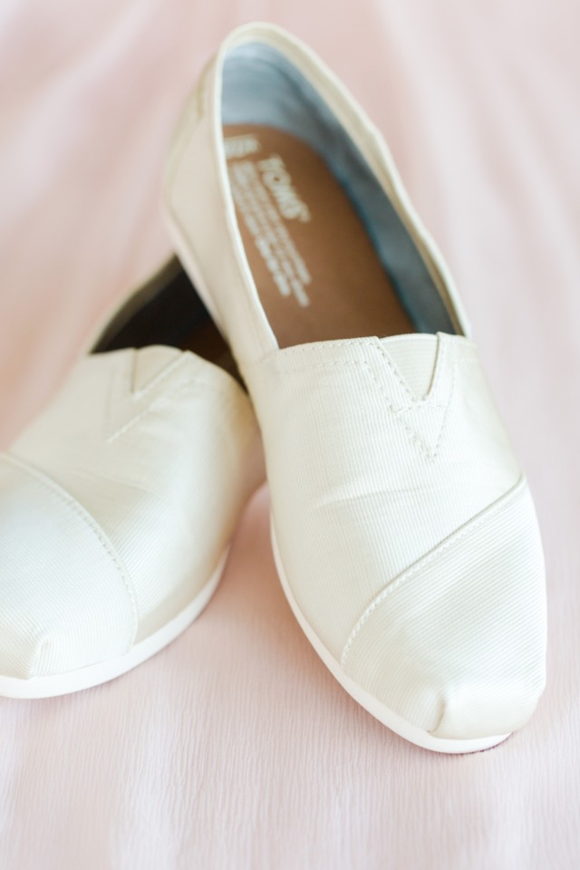 Simple white Toms wedding shoes