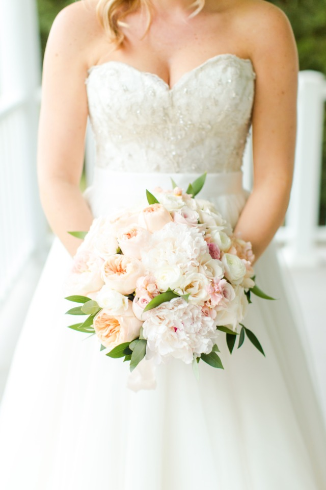 Peach, white and blush wedding bouquet