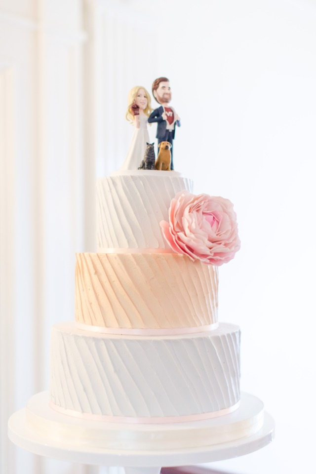 Grey, peach and white wedding cake
