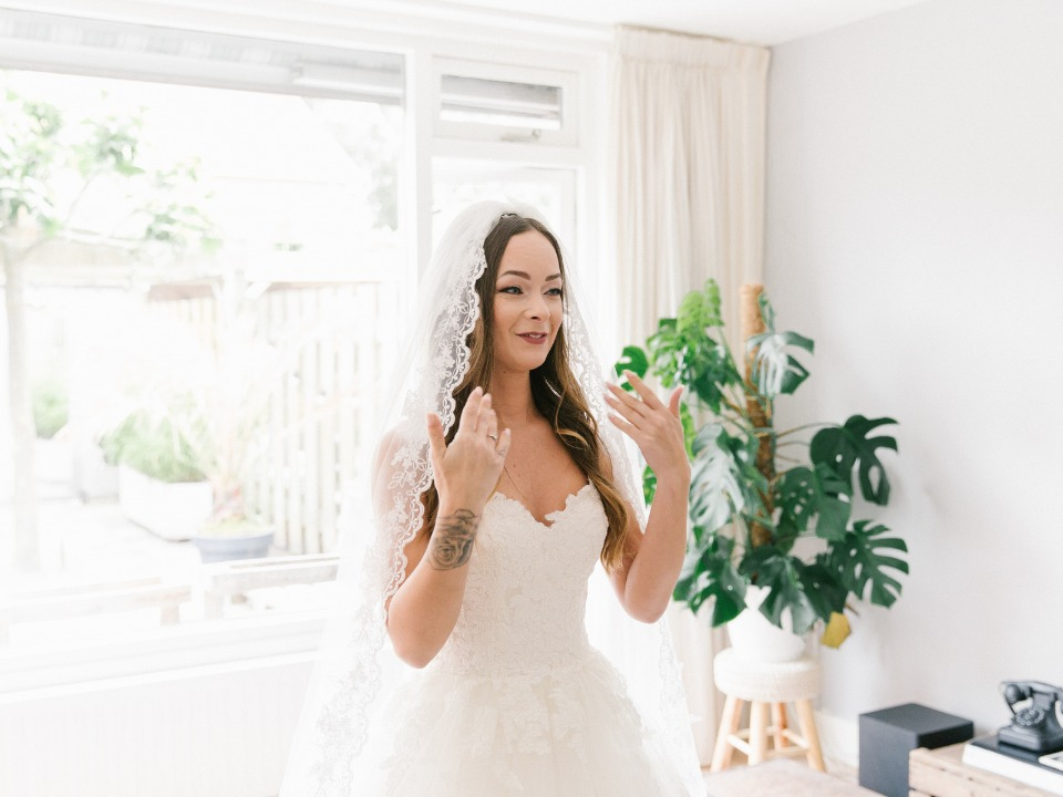 bride all ready to see her groom