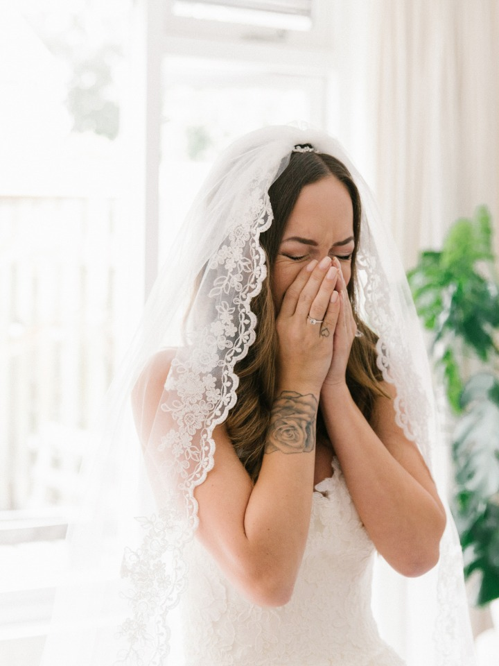 happy crying from the bride