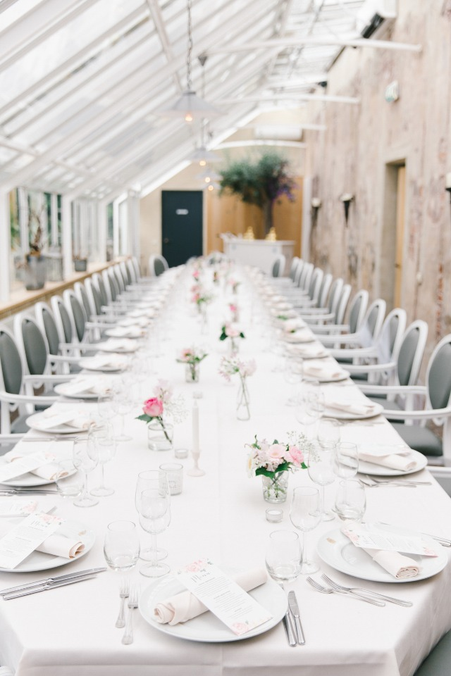 huge family style wedding reception table