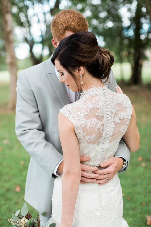 Love the lace back on this gorgeous dress
