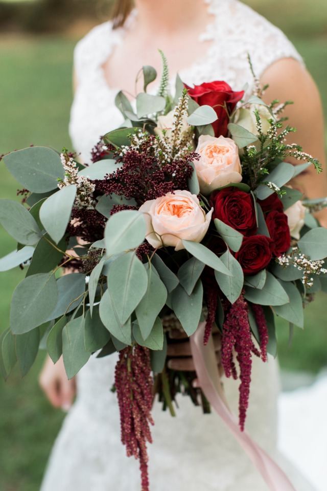 Blush, red and green bouquet