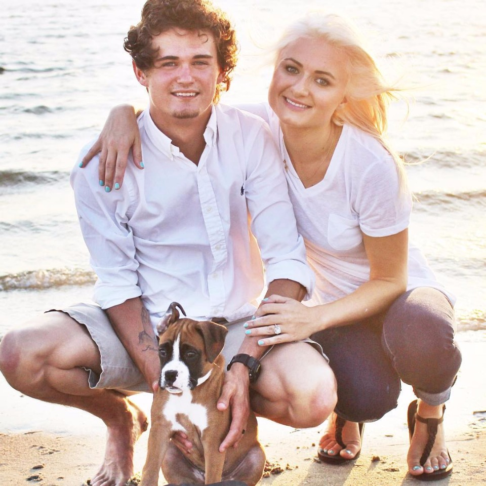 beach engagement with puppy