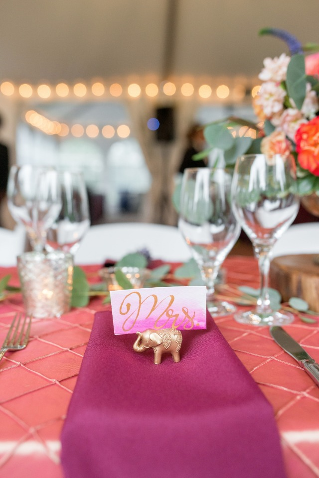 Pink and gold watercolor placecard