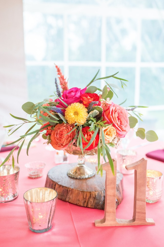 Pretty centerpiece with large wood table numbers