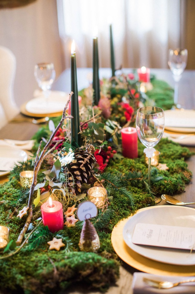 candle lit romantic holiday themed wedding table decor