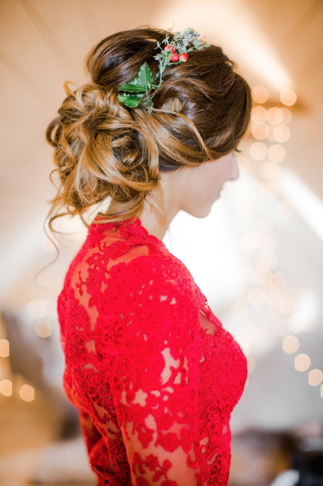 elegant wedding updo with holly accents