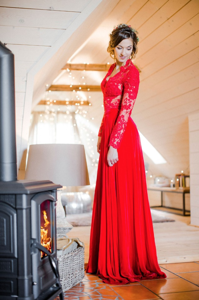two piece red wedding dress