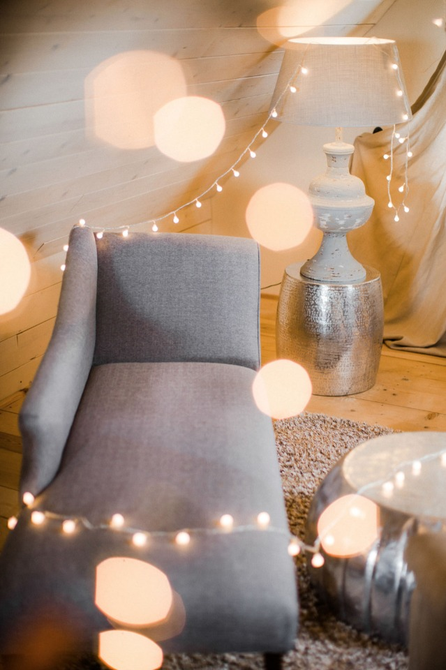 twinkle light accented lounge