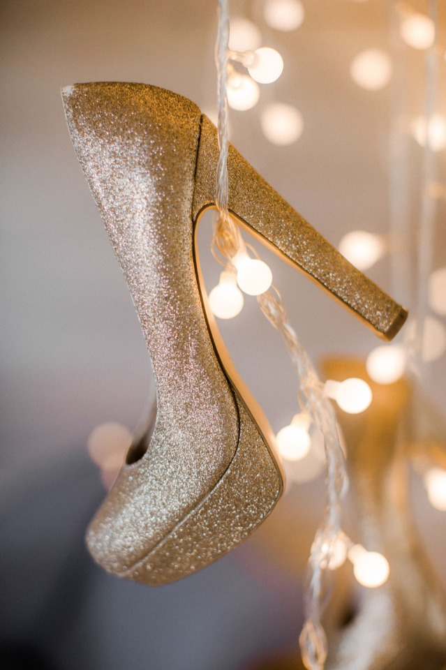 glittery gold wedding heels