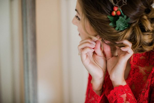 This Is How You Rock A Red Dress At Your Holiday Themed Wedding
