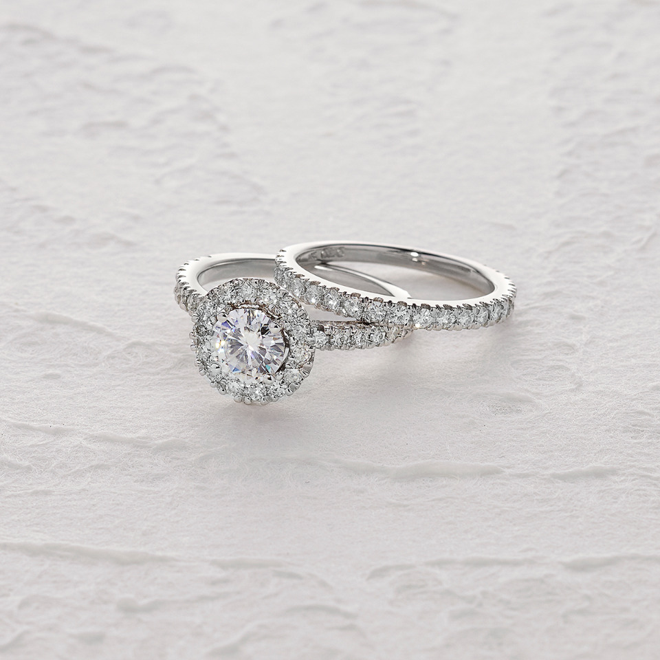 Forever One Round Maoissanite Halo engagement ring