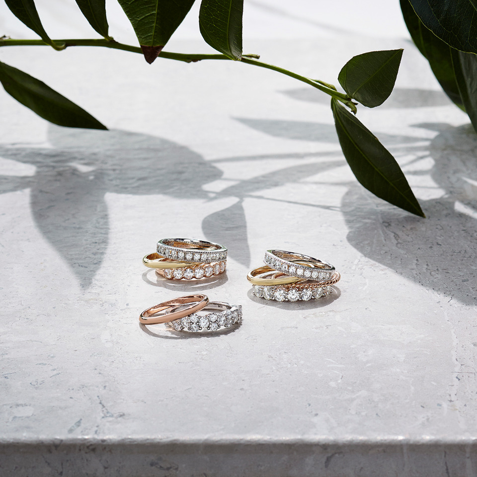 beautiful stackable wedding bands from Charles & Colvard