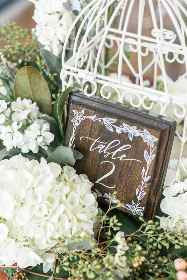 romantic wooden table number