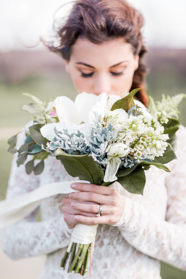 romantic white grey and green bouquet