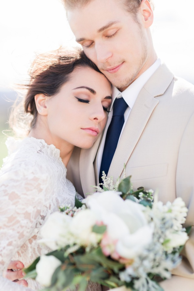 sweet and romantic bride and groom photo