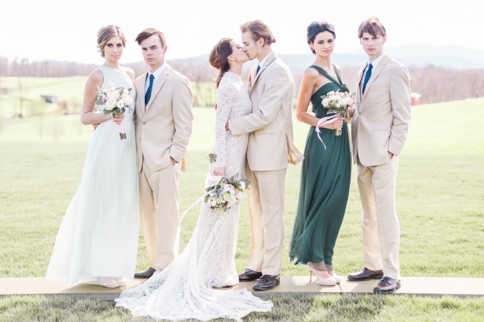 sage dark green and tan wedding party