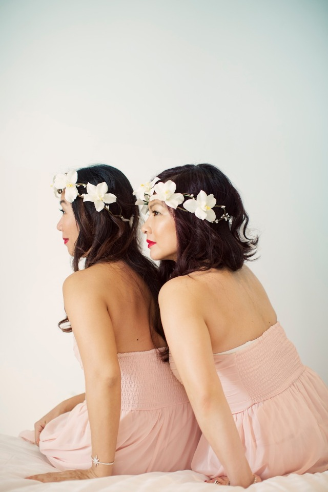 bridesmaids in matching pink and flower halos