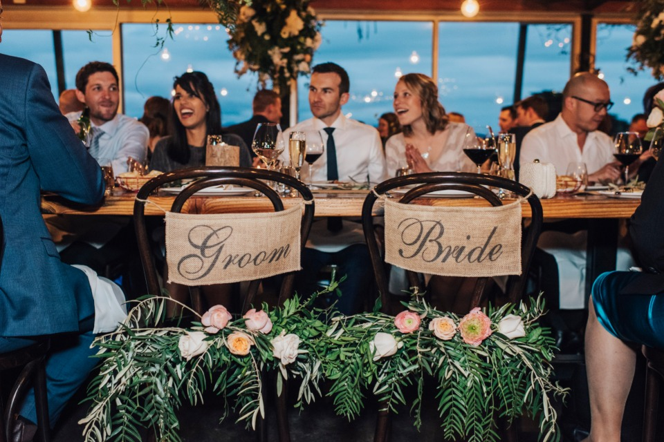 Bride and groom burlap chair signs