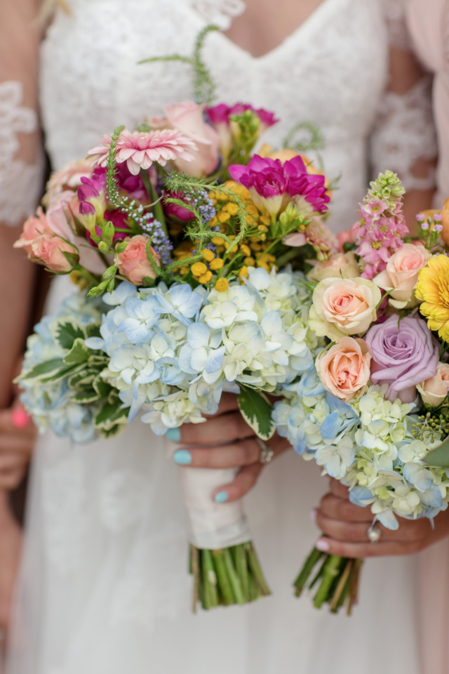 mixed floral colorful bridesmaids bouquets