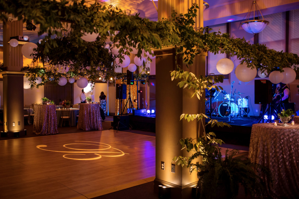 floral and lantern filled wedding reception