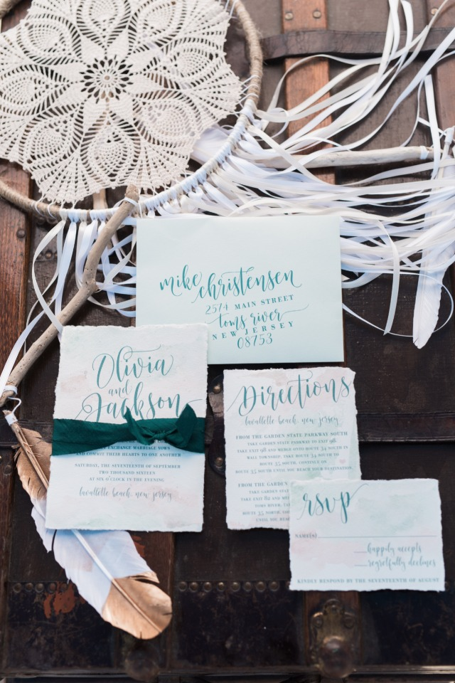 Beach inspired invitation suite