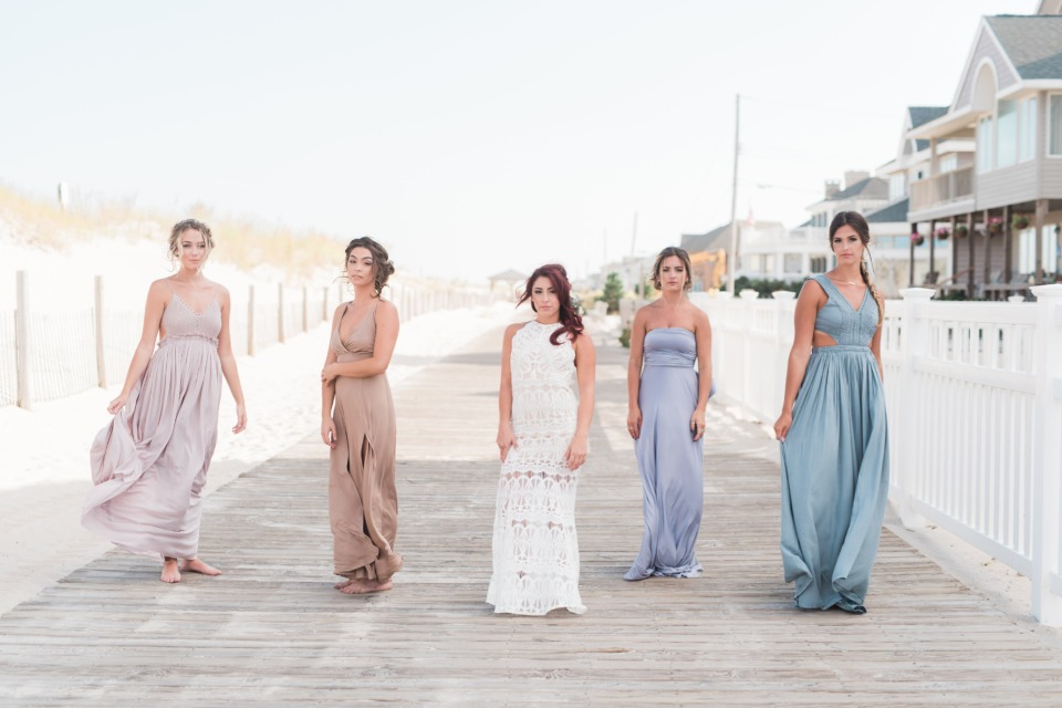 Boho bride and mismatched bridesmaids