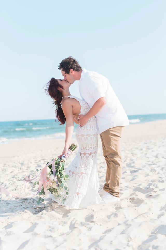 Boho beach bride and groom