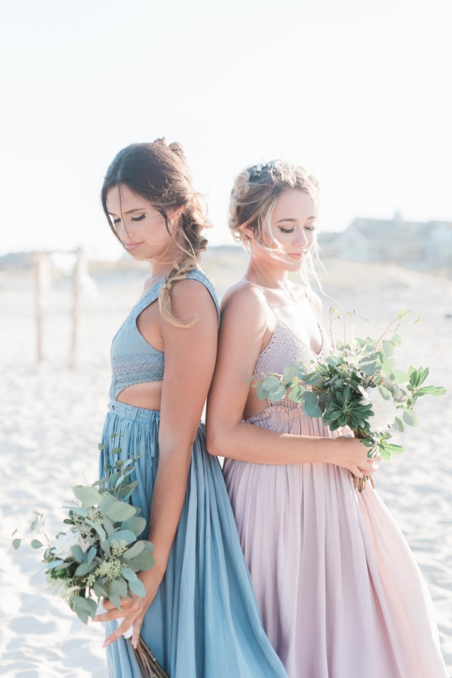 Blush and blue boho bridesmaid dresses