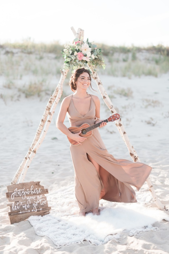 boho bridesmaid on the beach