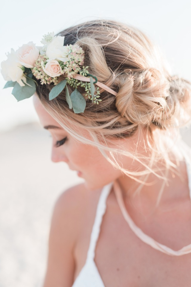 Bridal hair with florals