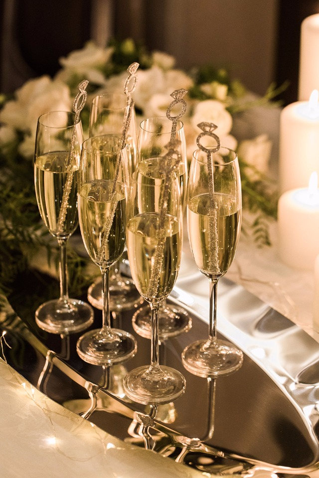 Champagne on a glamorous wedding tray