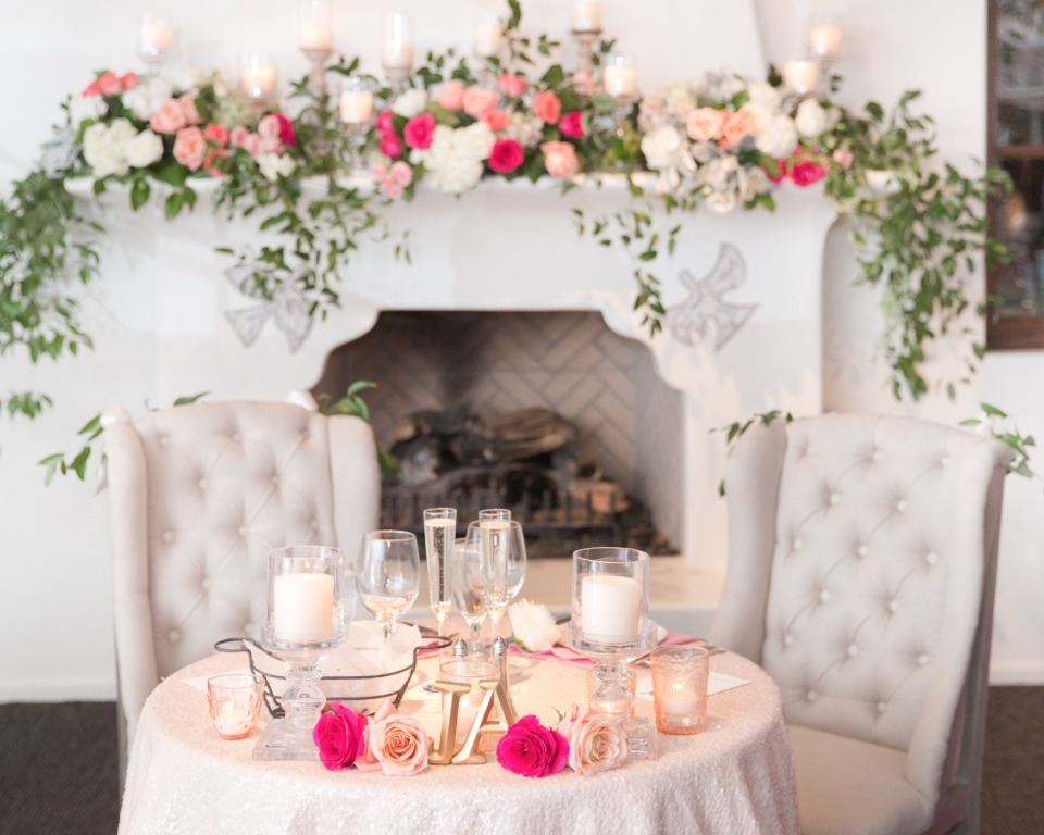 Romantic sweetheart table for two