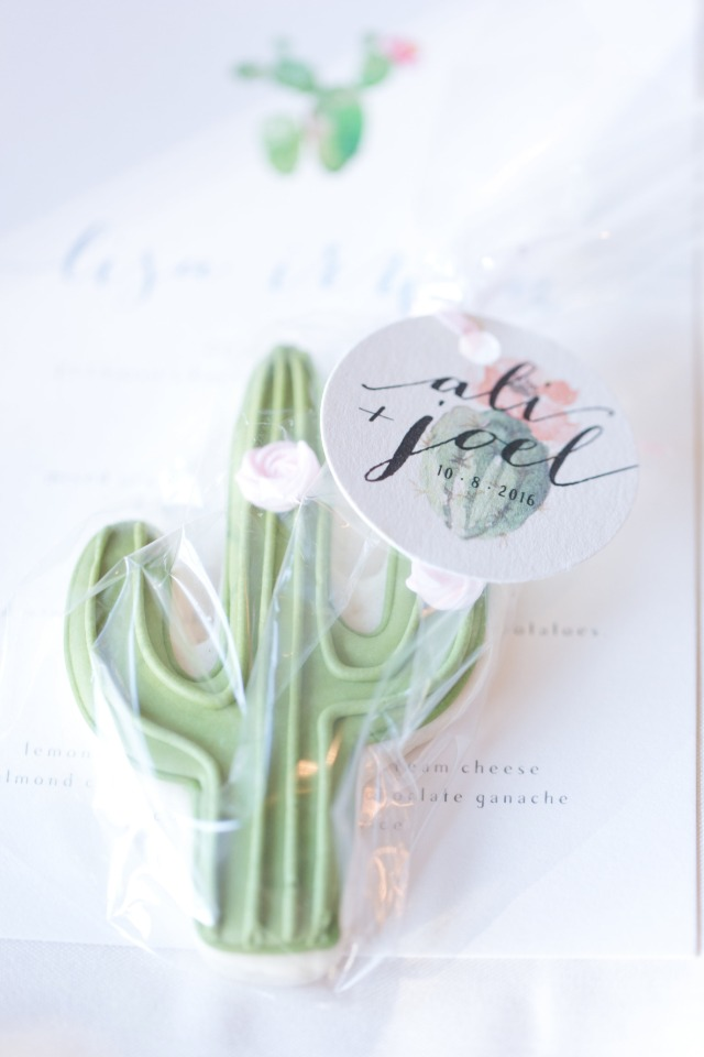 Cactus cookie wedding favor