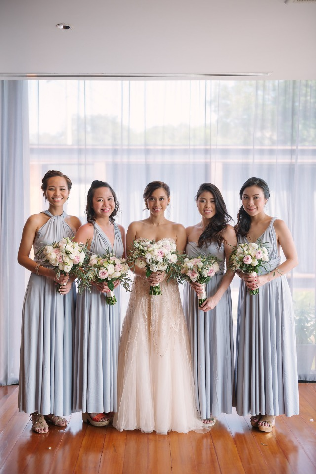 blue and blush bridal party