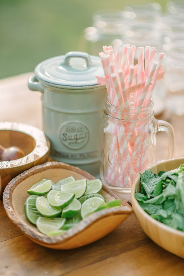 pink straws and limes for your mojito bar